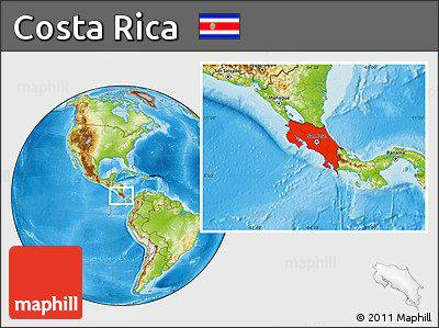 Physical location map of Costa Rica.