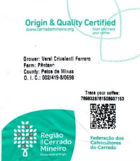 Pantano Brazil QR Code Traceability Label