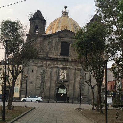 Church Mexico City subsiding to the right