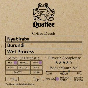 Burundi Nyabiraba coffee roasted at Quaffee Vineyard Hotel roastery